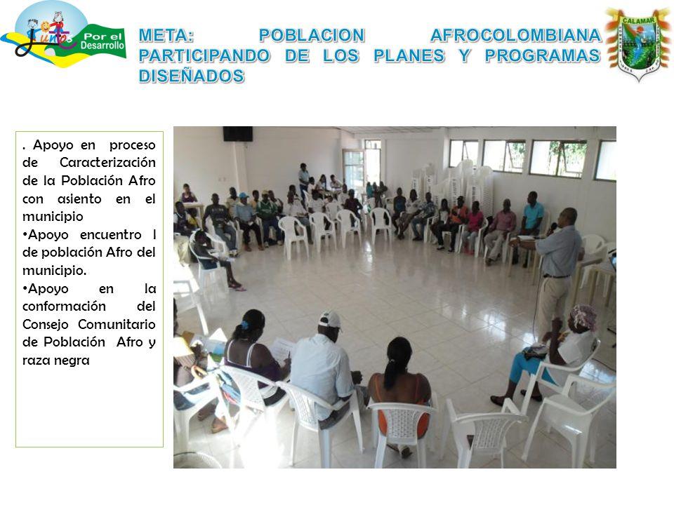 Apoyo en proceso de Caracterización de la Población Afro con asiento en el municipio Apoyo encuentro l de población Afro del municipio.