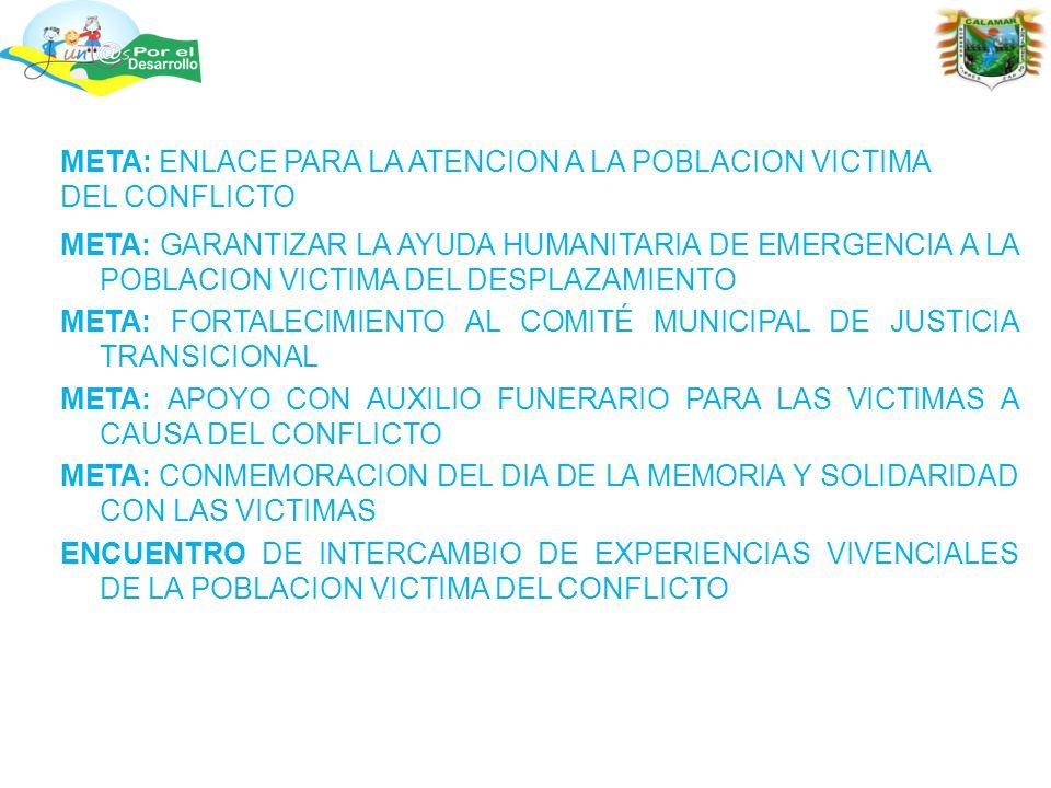 META: GARANTIZAR LA AYUDA HUMANITARIA DE EMERGENCIA A LA POBLACION VICTIMA DEL DESPLAZAMIENTO META: FORTALECIMIENTO AL COMITÉ MUNICIPAL DE JUSTICIA TRANSICIONAL META: APOYO CON AUXILIO FUNERARIO PARA LAS VICTIMAS A CAUSA DEL CONFLICTO META: CONMEMORACION DEL DIA DE LA MEMORIA Y SOLIDARIDAD CON LAS VICTIMAS ENCUENTRO DE INTERCAMBIO DE EXPERIENCIAS VIVENCIALES DE LA POBLACION VICTIMA DEL CONFLICTO META: ENLACE PARA LA ATENCION A LA POBLACION VICTIMA DEL CONFLICTO