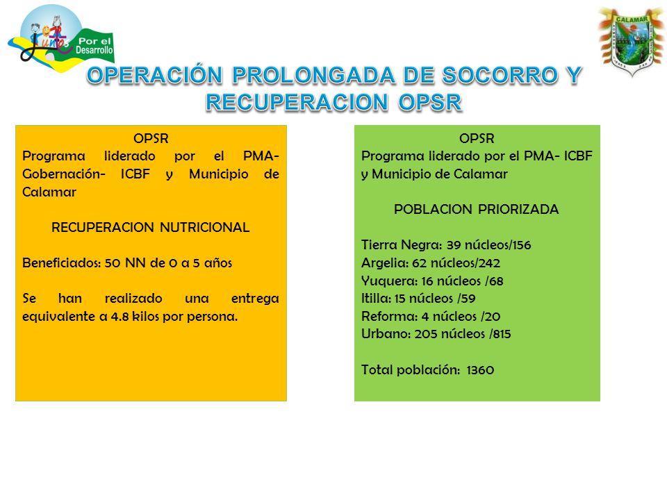 OPSR Programa liderado por el PMA- Gobernación- ICBF y Municipio de Calamar RECUPERACION NUTRICIONAL Beneficiados: 50 NN de 0 a 5 años Se han realizado una entrega equivalente a 4.8 kilos por persona.