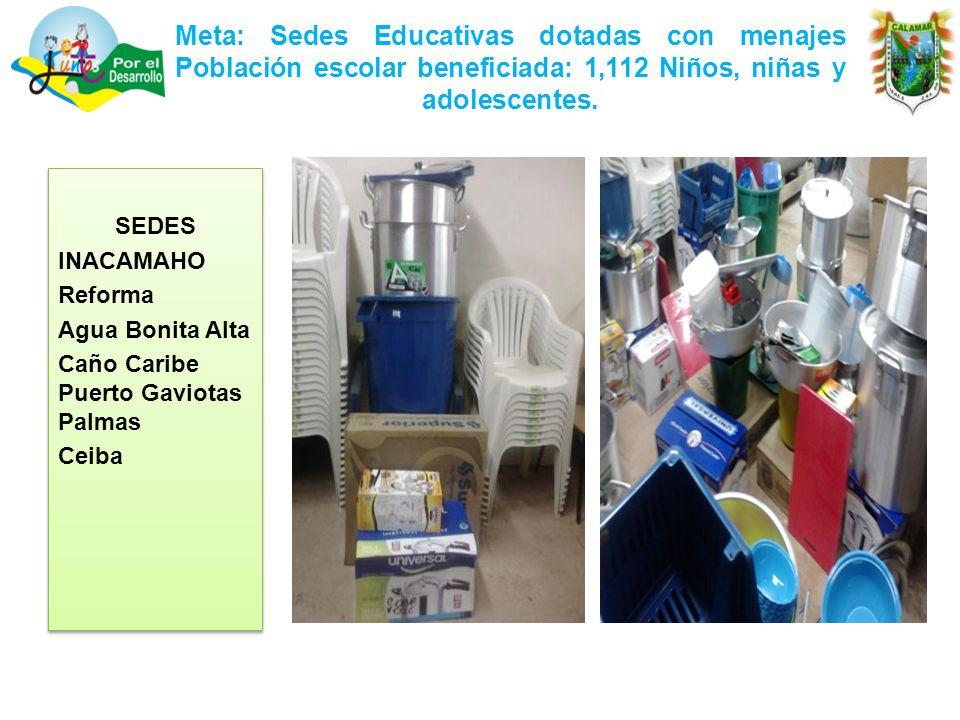 Meta: Sedes Educativas dotadas con menajes Población escolar beneficiada: 1,112 Niños, niñas y adolescentes.
