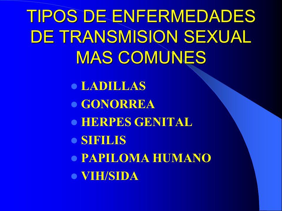 TIPOS DE ENFERMEDADES DE TRANSMISION SEXUAL MAS COMUNES LADILLAS GONORREA HERPES GENITAL SIFILIS PAPILOMA HUMANO VIH/SIDA