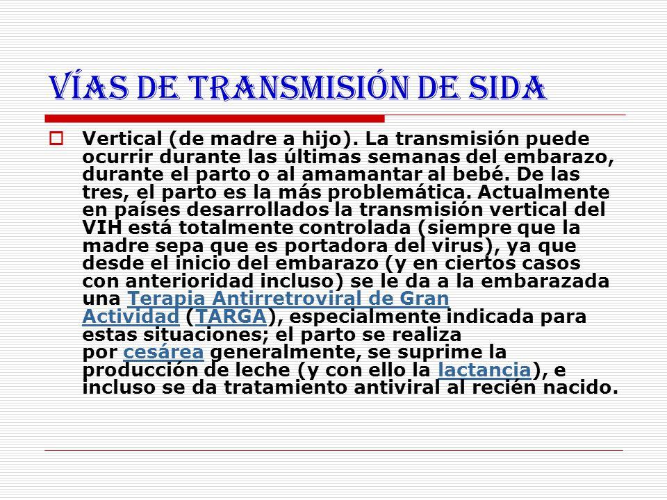 Vías de transmisión de SIDA  Vertical (de madre a hijo). La transmisión puede ocurrir durante las últimas semanas del embarazo, durante el parto o al