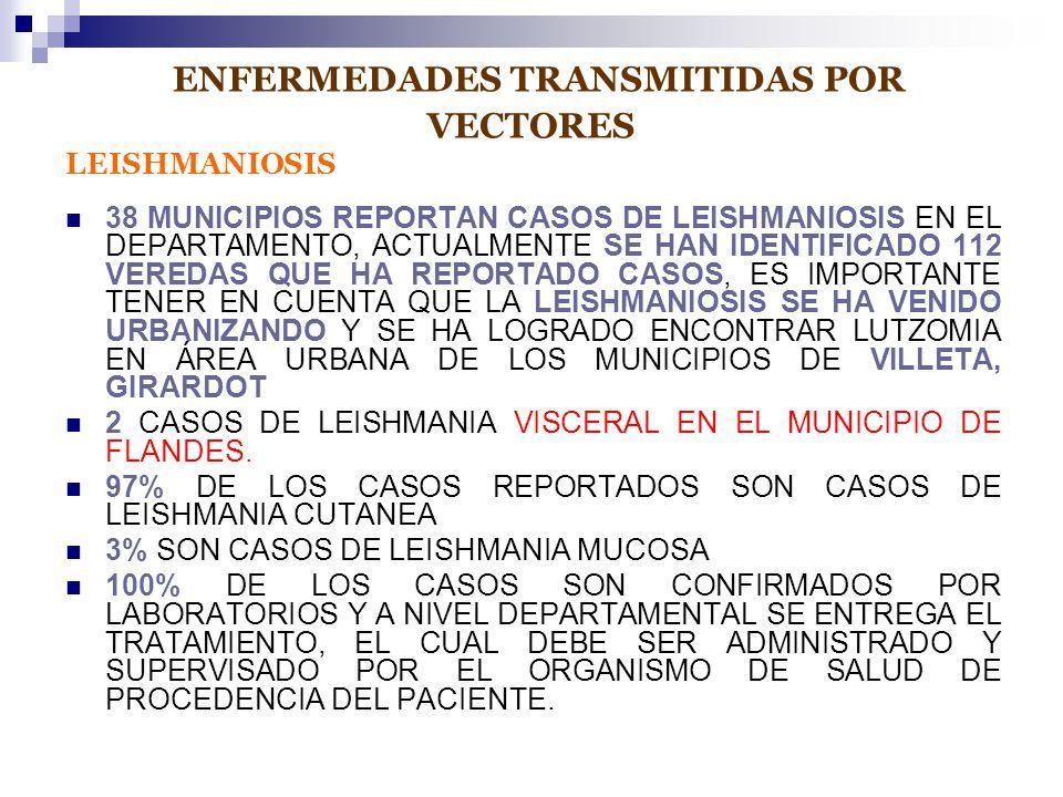 ENFERMEDADES TRANSMITIDAS POR VECTORES LEISHMANIOSIS 38 MUNICIPIOS REPORTAN CASOS DE LEISHMANIOSIS EN EL DEPARTAMENTO, ACTUALMENTE SE HAN IDENTIFICADO 112 VEREDAS QUE HA REPORTADO CASOS, ES IMPORTANTE TENER EN CUENTA QUE LA LEISHMANIOSIS SE HA VENIDO URBANIZANDO Y SE HA LOGRADO ENCONTRAR LUTZOMIA EN ÁREA URBANA DE LOS MUNICIPIOS DE VILLETA, GIRARDOT 2 CASOS DE LEISHMANIA VISCERAL EN EL MUNICIPIO DE FLANDES.