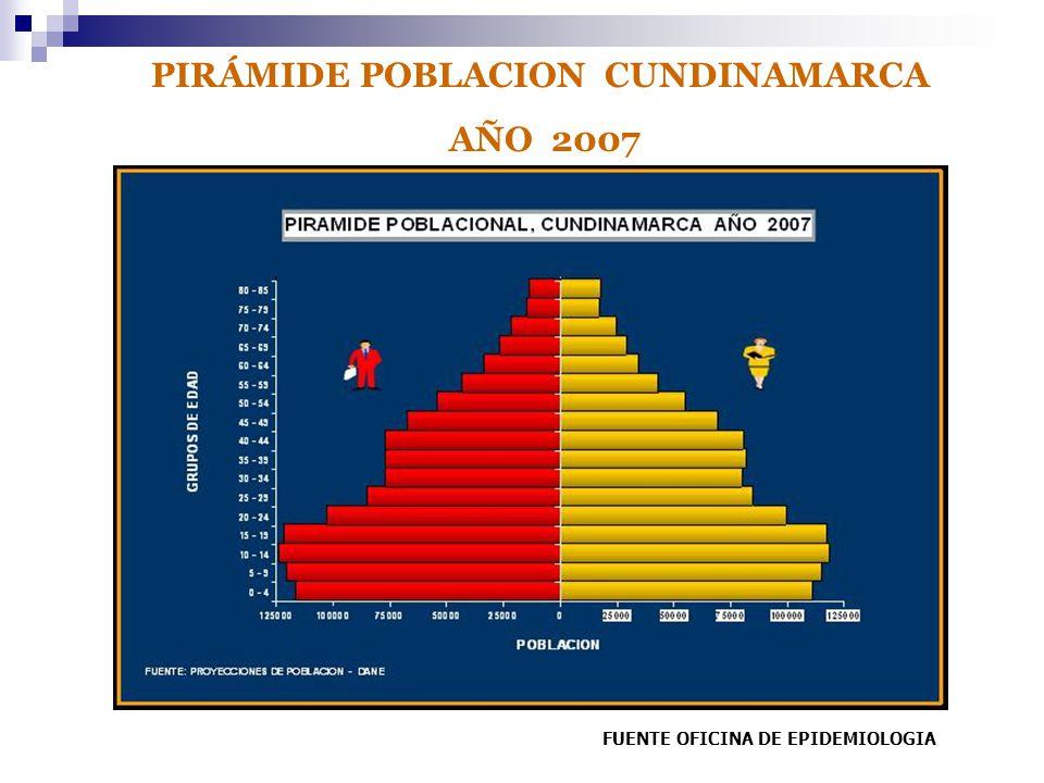 PIRÁMIDE POBLACION CUNDINAMARCA AÑO 2007 FUENTE OFICINA DE EPIDEMIOLOGIA