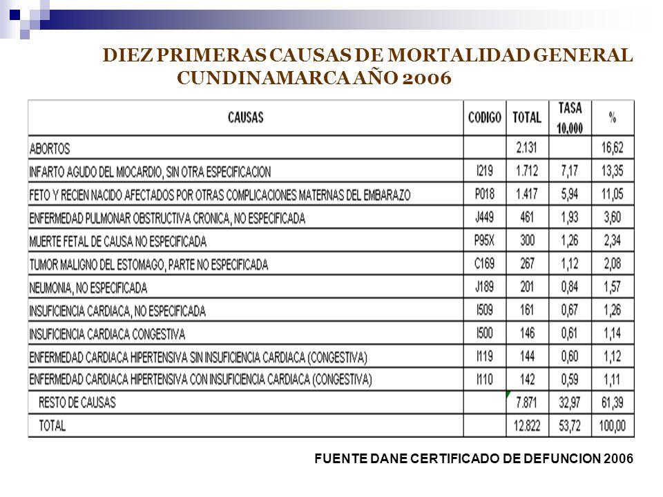 DIEZ PRIMERAS CAUSAS DE MORTALIDAD GENERAL CUNDINAMARCA AÑO 2006 FUENTE DANE CERTIFICADO DE DEFUNCION 2006