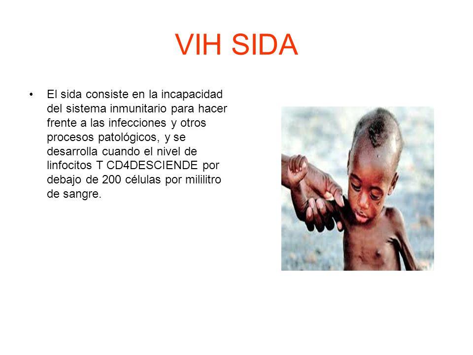 VIH SIDA El sida consiste en la incapacidad del sistema inmunitario para hacer frente a las infecciones y otros procesos patológicos, y se desarrolla cuando el nivel de linfocitos T CD4DESCIENDE por debajo de 200 células por mililitro de sangre.