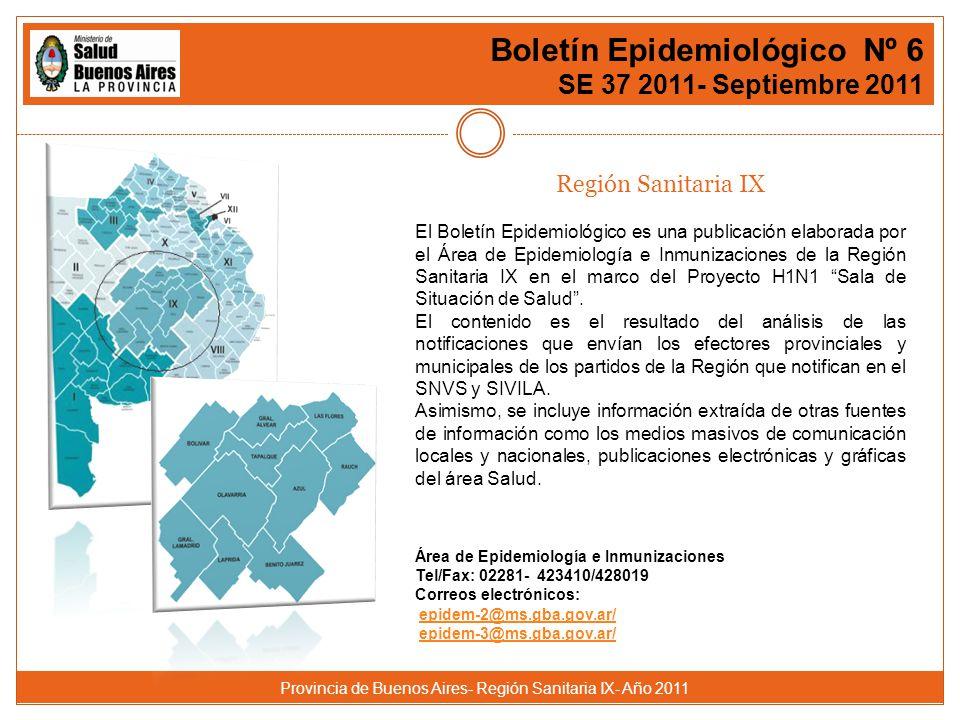 Provincia de Buenos Aires- Región Sanitaria IX- Año 2011 Boletín Epidemiológico Nº 6 SE 37 2011- Septiembre 2011 Región Sanitaria IX El Boletín Epidemiológico es una publicación elaborada por el Área de Epidemiología e Inmunizaciones de la Región Sanitaria IX en el marco del Proyecto H1N1 Sala de Situación de Salud .