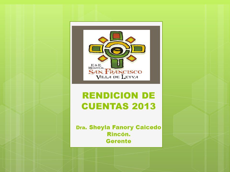 RENDICION DE CUENTAS 2013 Dra. Sheyla Fanory Caicedo Rincón. Gerente