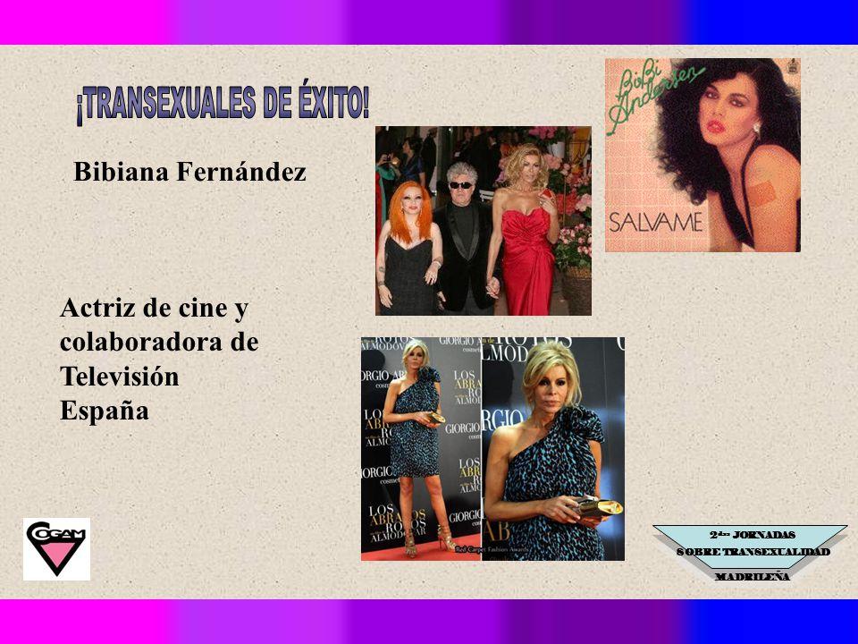 2 das JORNADAS SOBRE TRANSEXUALIDAD MADRILEÑA Bibiana Fernández Actriz de cine y colaboradora de Televisión España