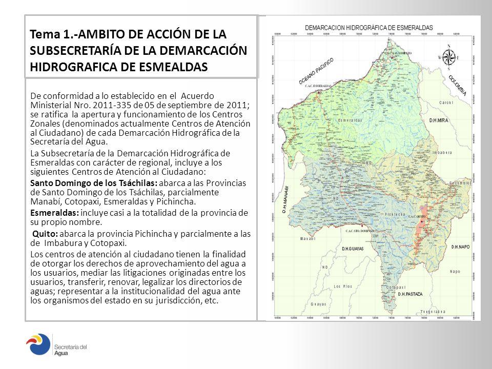 Tema 1.-AMBITO DE ACCIÓN DE LA SUBSECRETARÍA DE LA DEMARCACIÓN HIDROGRAFICA DE ESMEALDAS De conformidad a lo establecido en el Acuerdo Ministerial Nro.