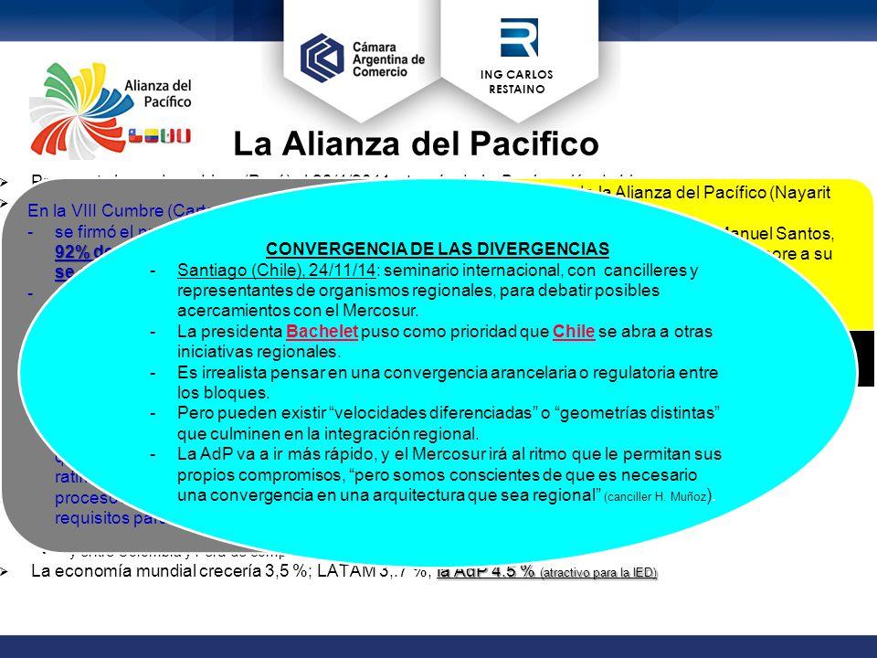 ING CARLOS RESTAINO La Alianza del Pacifico  Propuesta lanzada en Lima (Perú) el 28/4/2011 a través de la Declaración de Lima.