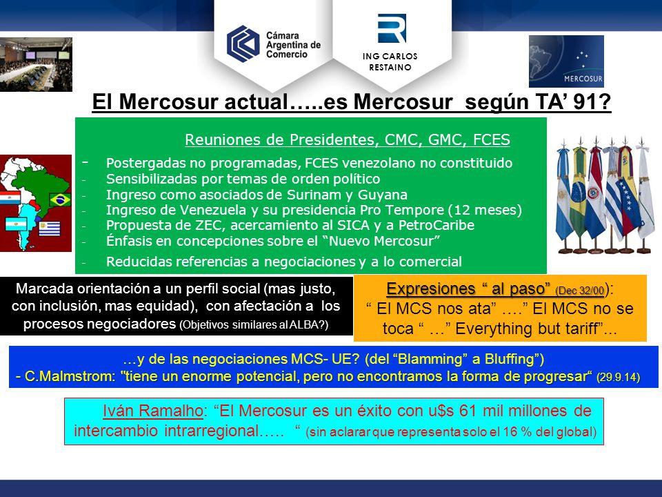 ING CARLOS RESTAINO Reuniones de Presidentes, CMC, GMC, FCES - Postergadas no programadas, FCES venezolano no constituido - Sensibilizadas por temas de orden político - Ingreso como asociados de Surinam y Guyana - Ingreso de Venezuela y su presidencia Pro Tempore (12 meses) - Propuesta de ZEC, acercamiento al SICA y a PetroCaribe - Énfasis en concepciones sobre el Nuevo Mercosur - Reducidas referencias a negociaciones y a lo comercial Marcada orientación a un perfil social (mas justo, con inclusión, mas equidad), con afectación a los procesos negociadores (Objetivos similares al ALBA ) El Mercosur actual…..es Mercosur según TA' 91.