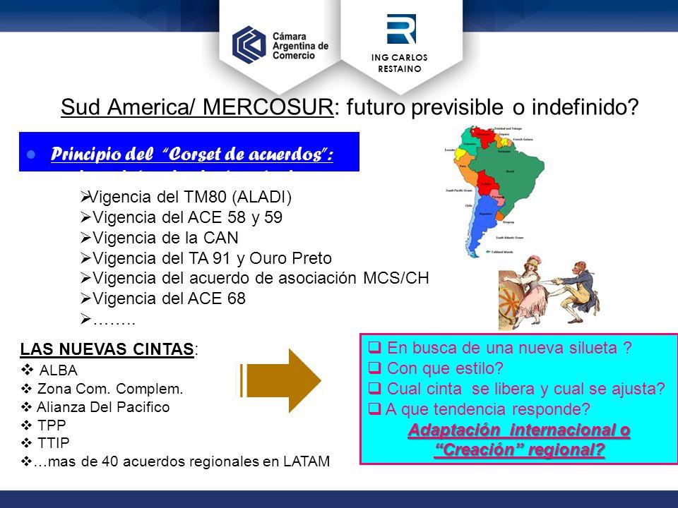 ING CARLOS RESTAINO Sud America/ MERCOSUR: futuro previsible o indefinido.