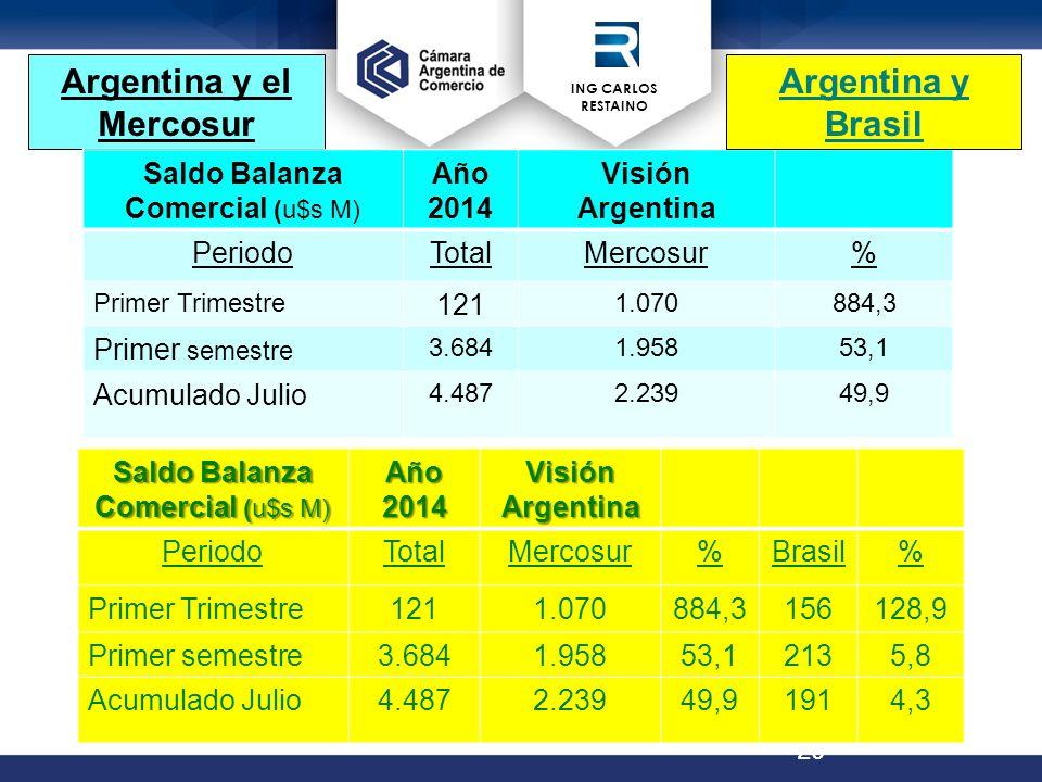 ING CARLOS RESTAINO 20 Argentina y el Mercosur Fuente: ME Saldo Balanza Comercial (u$s M) Año 2014 Visión Argentina PeriodoTotalMercosur% Primer Trimestre 121 1.070884,3 Primer semestre 3.6841.95853,1 Acumulado Julio 4.4872.23949,9 Saldo Balanza Comercial (u$s M) Año 2014 VisiónArgentina PeriodoTotalMercosur%Brasil% Primer Trimestre1211.070884,3156128,9 Primer semestre3.6841.95853,12135,8 Acumulado Julio4.4872.23949,91914,3 Argentina y Brasil