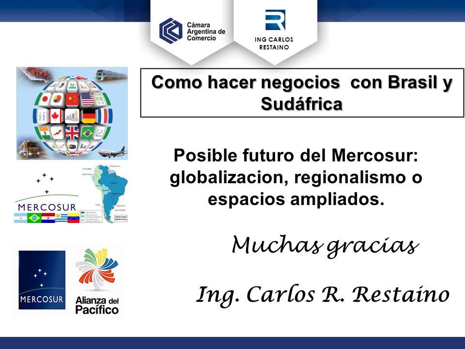 ING CARLOS RESTAINO Posible futuro del Mercosur: globalizacion, regionalismo o espacios ampliados.