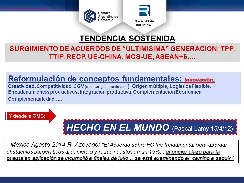 ING CARLOS RESTAINO TENDENCIA SOSTENIDA S SURGIMIENTO DE ACUERDOS DE ULTIMISIMA GENERACION: TPP, TTIP, RECP, UE-CHINA, MCS-UE, ASEAN+6….