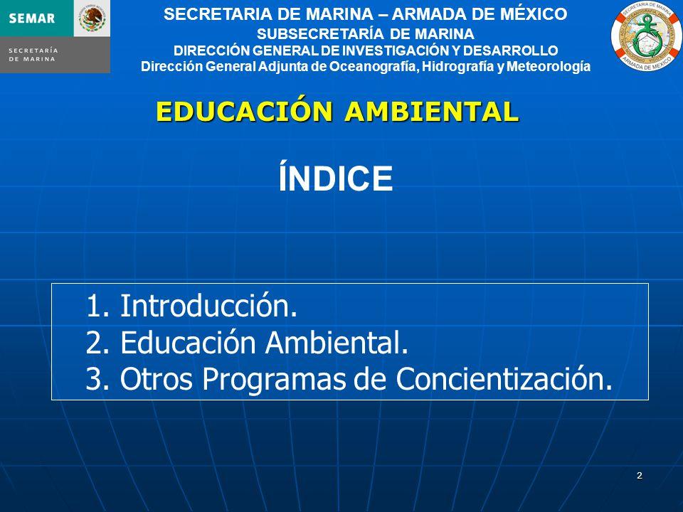 2 1. Introducción. 2. Educación Ambiental. 3. Otros Programas de Concientización.