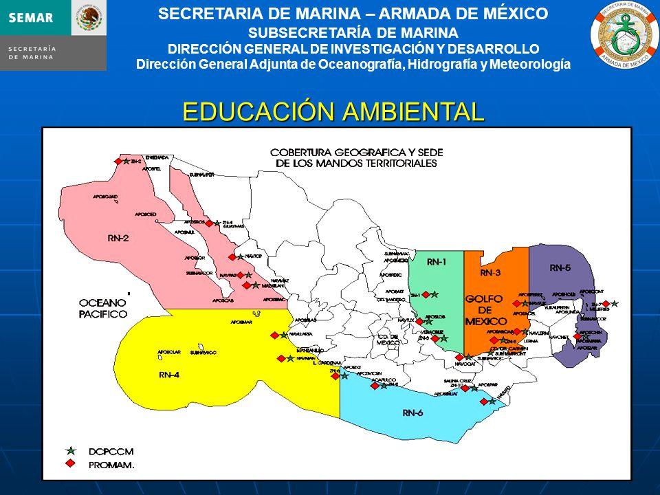 4 SECRETARIA DE MARINA – ARMADA DE MÉXICO SUBSECRETARÍA DE MARINA DIRECCIÓN GENERAL DE INVESTIGACIÓN Y DESARROLLO Dirección General Adjunta de Oceanografía, Hidrografía y Meteorología EDUCACIÓN AMBIENTAL EDUCACIÓN AMBIENTAL