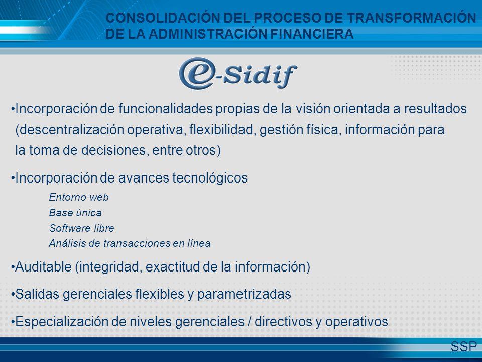 CONSOLIDACIÓN DEL PROCESO DE TRANSFORMACIÓN DE LA ADMINISTRACIÓN FINANCIERA Incorporación de funcionalidades propias de la visión orientada a resultados (descentralización operativa, flexibilidad, gestión física, información para la toma de decisiones, entre otros) Incorporación de avances tecnológicos Entorno web Base única Software libre Análisis de transacciones en línea Auditable (integridad, exactitud de la información) Salidas gerenciales flexibles y parametrizadas Especialización de niveles gerenciales / directivos y operativos SSP