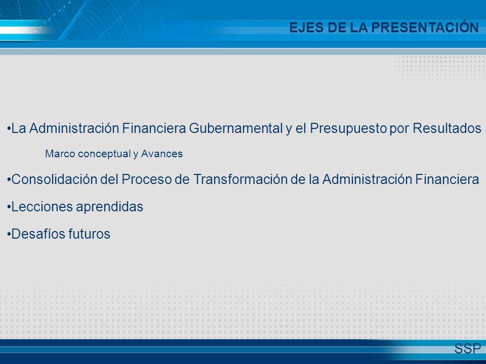 La Administración Financiera Gubernamental y el Presupuesto por Resultados Marco conceptual y Avances Consolidación del Proceso de Transformación de la Administración Financiera Lecciones aprendidas Desafíos futuros EJES DE LA PRESENTACIÓN SSP