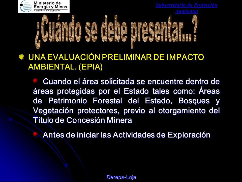 Subsecretaria de Protección Ambiental Derepa-Loja UNA EVALUACIÓN PRELIMINAR DE IMPACTO AMBIENTAL.