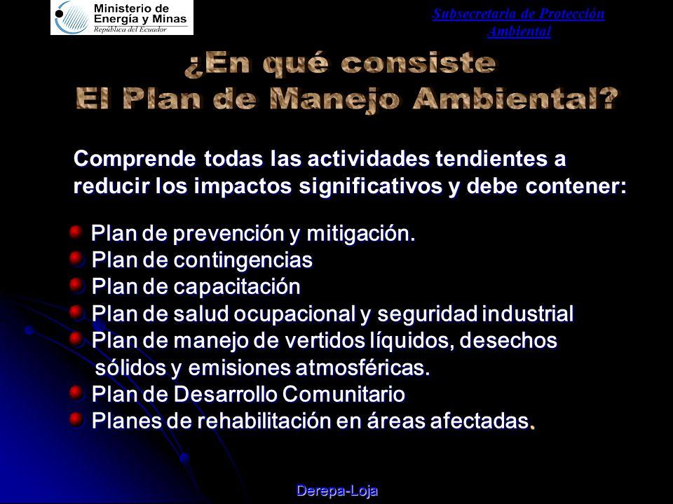 Subsecretaria de Protección Ambiental Derepa-Loja Plan de prevención y mitigación.