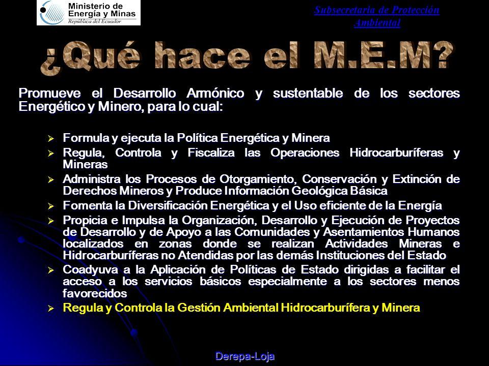 Subsecretaria de Protección Ambiental Derepa-Loja Promueve el Desarrollo Armónico y sustentable de los sectores Energético y Minero, para lo cual: FFFFormula y ejecuta la Política Energética y Minera RRRRegula, Controla y Fiscaliza las Operaciones Hidrocarburíferas y Mineras AAAAdministra los Procesos de Otorgamiento, Conservación y Extinción de Derechos Mineros y Produce Información Geológica Básica FFFFomenta la Diversificación Energética y el Uso eficiente de la Energía PPPPropicia e Impulsa la Organización, Desarrollo y Ejecución de Proyectos de Desarrollo y de Apoyo a las Comunidades y Asentamientos Humanos localizados en zonas donde se realizan Actividades Mineras e Hidrocarburíferas no Atendidas por las demás Instituciones del Estado CCCCoadyuva a la Aplicación de Políticas de Estado dirigidas a facilitar el acceso a los servicios básicos especialmente a los sectores menos favorecidos RRegula y Controla la Gestión Ambiental Hidrocarburífera y Minera