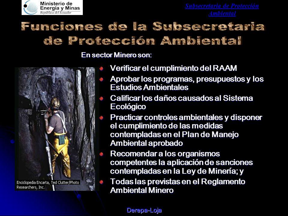 Subsecretaria de Protección Ambiental Derepa-Loja Verificar el cumplimiento del RAAM Aprobar los programas, presupuestos y los Estudios Ambientales Calificar los daños causados al Sistema Ecológico Practicar controles ambientales y disponer el cumplimiento de las medidas contempladas en el Plan de Manejo Ambiental aprobado Recomendar a los organismos competentes la aplicación de sanciones contempladas en la Ley de Minería; y Todas las previstas en el Reglamento Ambiental Minero En sector Minero son: