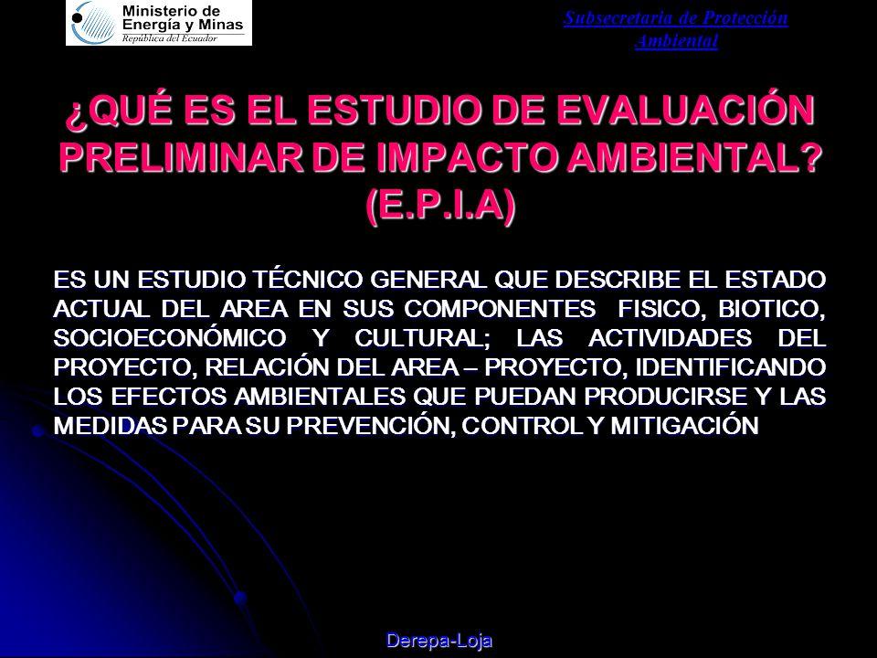 Subsecretaria de Protección Ambiental Derepa-Loja ¿QUÉ ES EL ESTUDIO DE EVALUACIÓN PRELIMINAR DE IMPACTO AMBIENTAL.