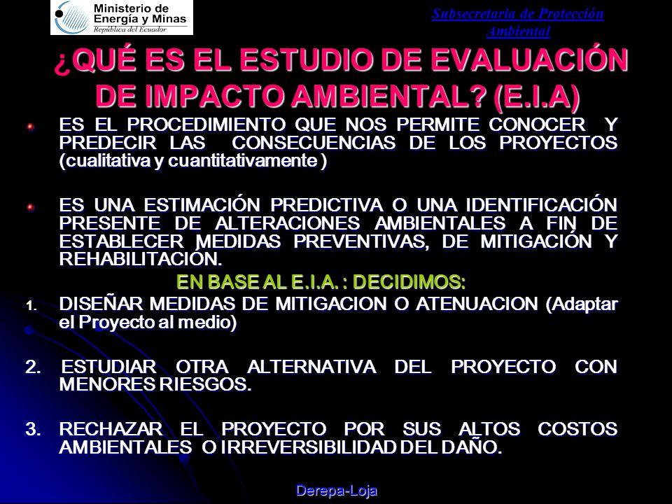 Subsecretaria de Protección Ambiental Derepa-Loja QUÉ ES EL ESTUDIO DE EVALUACIÓN DE IMPACTO AMBIENTAL.