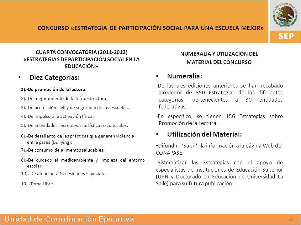 S UBSECRETARÍA DE E DUCACIÓN S UPERIOR CONCURSO «ESTRATEGIA DE PARTICIPACIÓN SOCIAL PARA UNA ESCUELA MEJOR» CUARTA CONVOCATORIA (2011-2012) «ESTRATEGIAS DE PARTICIPACIÓN SOCIAL EN LA EDUCACIÓN» Diez Categorías: 1).-De promoción de la lectura 2).-De mejoramiento de la Infraestructura; 3).-De protección civil y de seguridad de las escuelas, 4).-De Impulso a la activación física; 5).-De actividades recreativas, artísticas o culturales; 6).-De desaliento de las prácticas que generen violencia entre pares (Bullying); 7).-De consumo de alimentos saludables; 8).-De cuidado al medioambiente y limpieza del entorno escolar 10).-De atención a Necesidades Especiales 10).-Tema Libre.