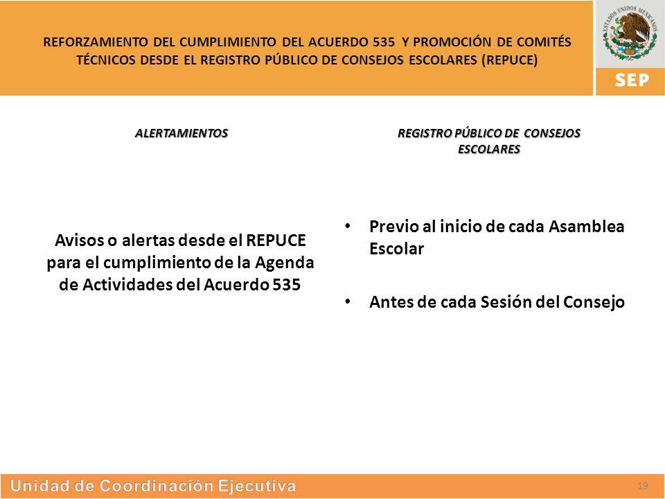 S UBSECRETARÍA DE E DUCACIÓN S UPERIOR REFORZAMIENTO DEL CUMPLIMIENTO DEL ACUERDO 535 Y PROMOCIÓN DE COMITÉS TÉCNICOS DESDE EL REGISTRO PÚBLICO DE CONSEJOS ESCOLARES (REPUCE) ALERTAMIENTOS Avisos o alertas desde el REPUCE para el cumplimiento de la Agenda de Actividades del Acuerdo 535 REGISTRO PÚBLICO DE CONSEJOS ESCOLARES Previo al inicio de cada Asamblea Escolar Antes de cada Sesión del Consejo 19