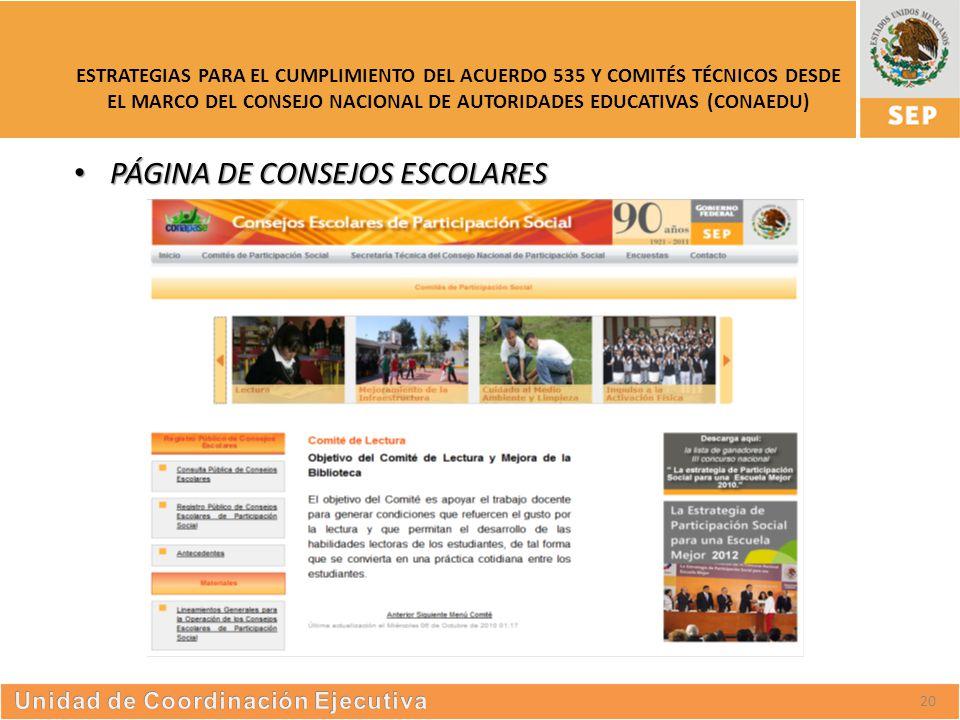 S UBSECRETARÍA DE E DUCACIÓN S UPERIOR ESTRATEGIAS PARA EL CUMPLIMIENTO DEL ACUERDO 535 Y COMITÉS TÉCNICOS DESDE EL MARCO DEL CONSEJO NACIONAL DE AUTORIDADES EDUCATIVAS (CONAEDU) 20 PÁGINA DE CONSEJOS ESCOLARES PÁGINA DE CONSEJOS ESCOLARES