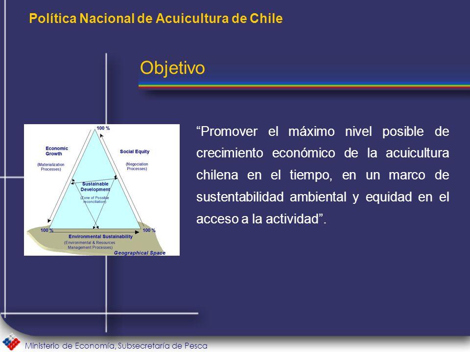 Ministerio de Economía, Subsecretaría de Pesca Política Nacional de Acuicultura de Chile Promover el máximo nivel posible de crecimiento económico de la acuicultura chilena en el tiempo, en un marco de sustentabilidad ambiental y equidad en el acceso a la actividad .