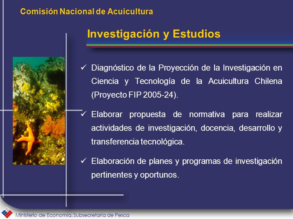 Ministerio de Economía, Subsecretaría de Pesca Comisión Nacional de Acuicultura Diagnóstico de la Proyección de la Investigación en Ciencia y Tecnología de la Acuicultura Chilena (Proyecto FIP 2005-24).
