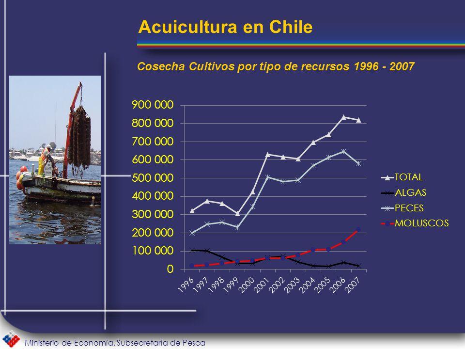 Ministerio de Economía, Subsecretaría de Pesca Acuicultura en Chile Cosecha Cultivos por tipo de recursos 1996 - 2007