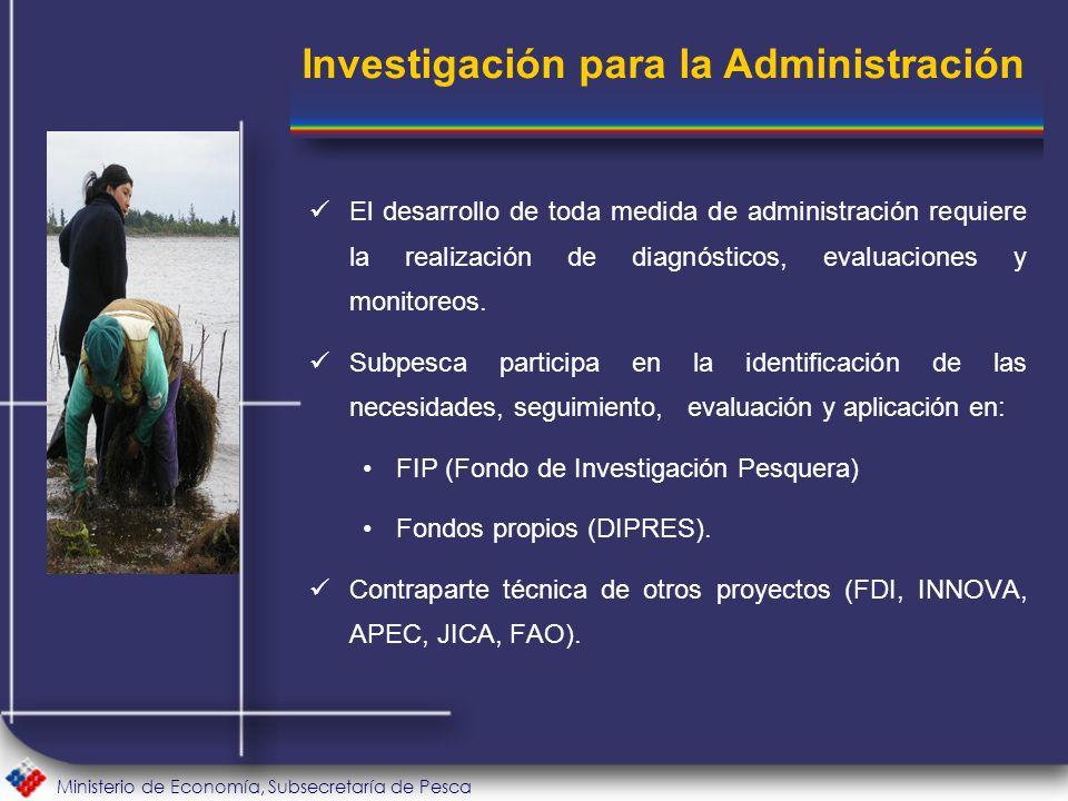 Ministerio de Economía, Subsecretaría de Pesca El desarrollo de toda medida de administración requiere la realización de diagnósticos, evaluaciones y monitoreos.