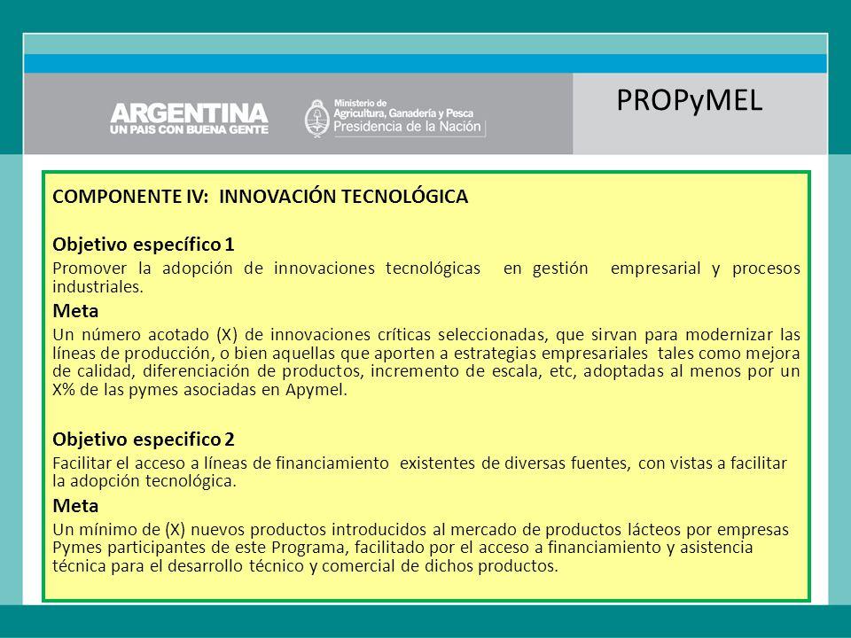 PROPyMEL COMPONENTE IV: INNOVACIÓN TECNOLÓGICA Objetivo específico 1 Promover la adopción de innovaciones tecnológicas en gestión empresarial y procesos industriales.