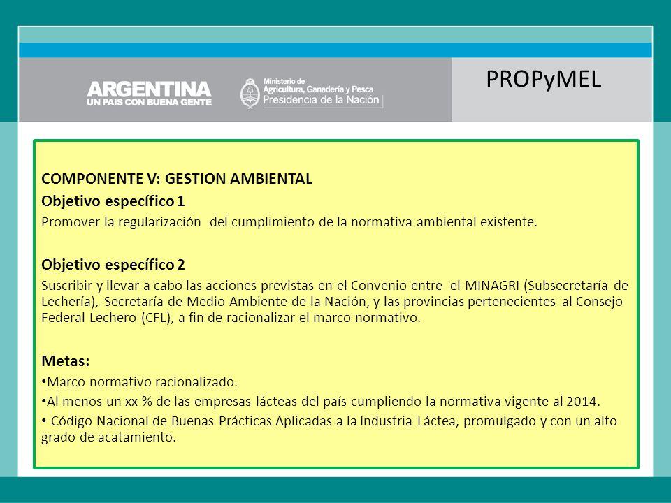 PROPyMEL COMPONENTE V: GESTION AMBIENTAL Objetivo específico 1 Promover la regularización del cumplimiento de la normativa ambiental existente.