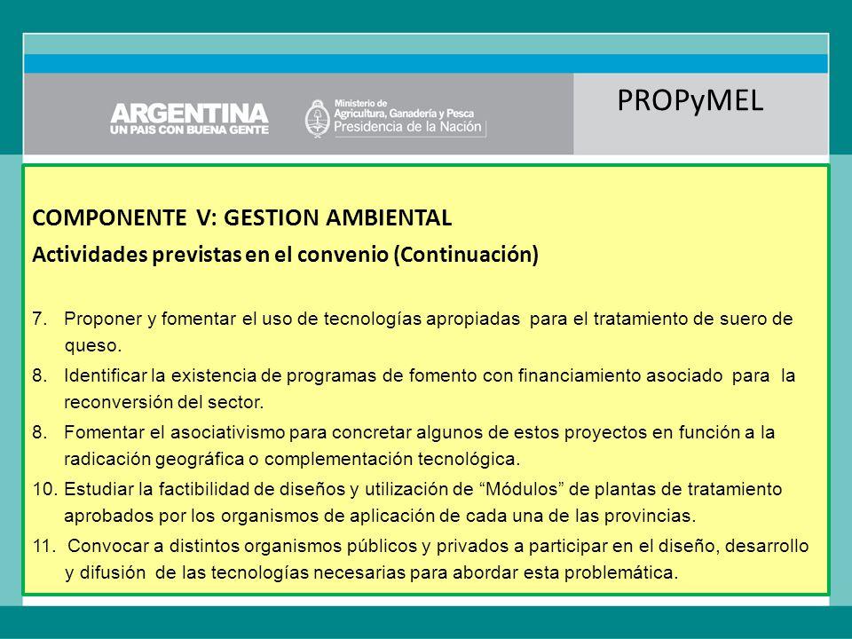 PROPyMEL COMPONENTE V: GESTION AMBIENTAL Actividades previstas en el convenio (Continuación) 7.Proponer y fomentar el uso de tecnologías apropiadas para el tratamiento de suero de queso.