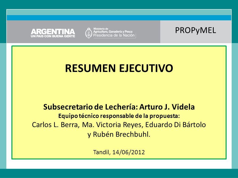 PROPyMEL RESUMEN EJECUTIVO Subsecretario de Lechería: Arturo J.