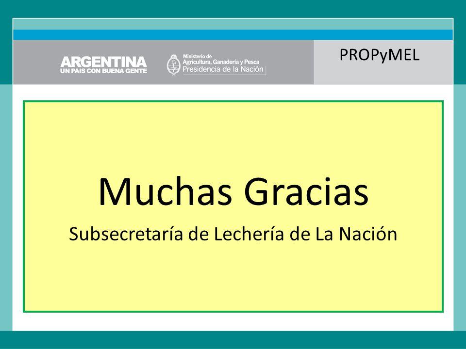 PROPyMEL Muchas Gracias Subsecretaría de Lechería de La Nación