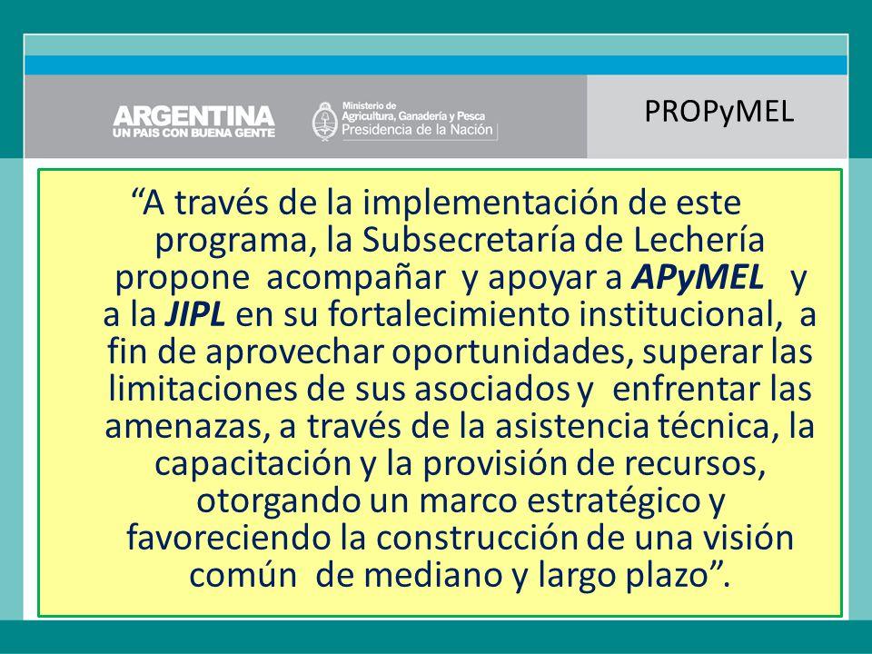 PROPyMEL A través de la implementación de este programa, la Subsecretaría de Lechería propone acompañar y apoyar a APyMEL y a la JIPL en su fortalecimiento institucional, a fin de aprovechar oportunidades, superar las limitaciones de sus asociados y enfrentar las amenazas, a través de la asistencia técnica, la capacitación y la provisión de recursos, otorgando un marco estratégico y favoreciendo la construcción de una visión común de mediano y largo plazo .