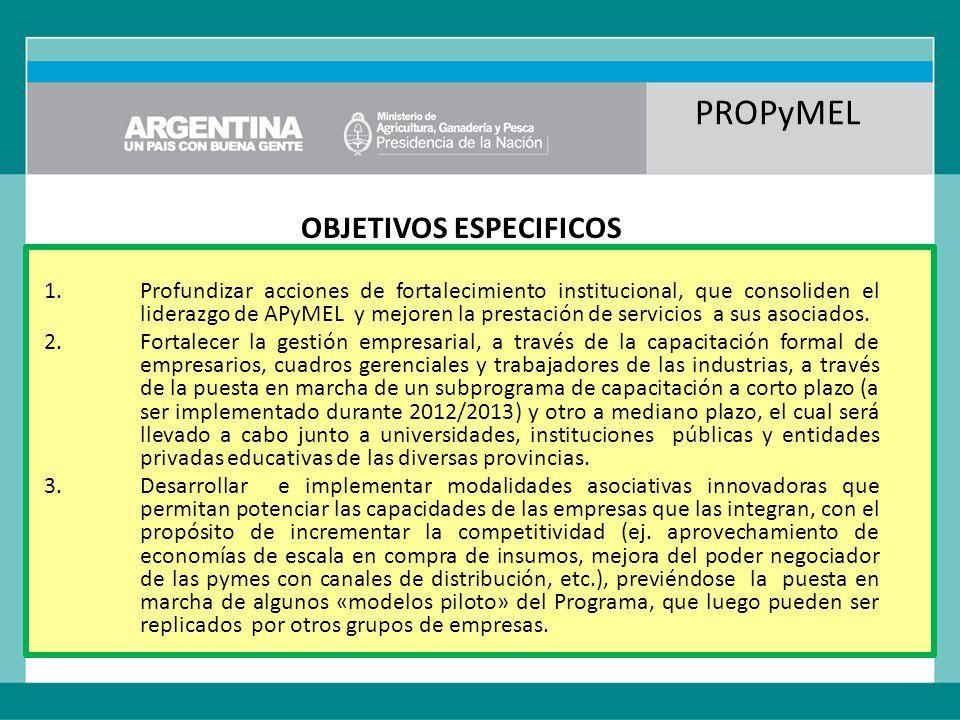 PROPyMEL OBJETIVOS ESPECIFICOS 1.Profundizar acciones de fortalecimiento institucional, que consoliden el liderazgo de APyMEL y mejoren la prestación de servicios a sus asociados.