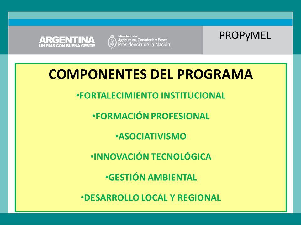 PROPyMEL COMPONENTES DEL PROGRAMA FORTALECIMIENTO INSTITUCIONAL FORMACIÓN PROFESIONAL ASOCIATIVISMO INNOVACIÓN TECNOLÓGICA GESTIÓN AMBIENTAL DESARROLLO LOCAL Y REGIONAL