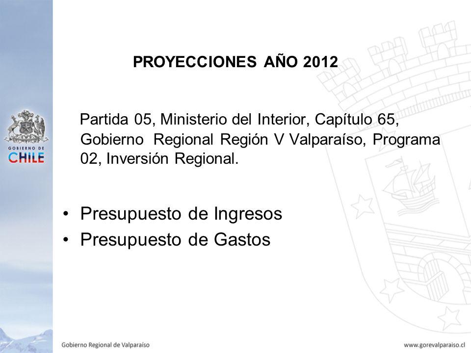 PROYECCIONES AÑO 2012 Partida 05, Ministerio del Interior, Capítulo 65, Gobierno Regional Región V Valparaíso, Programa 02, Inversión Regional.