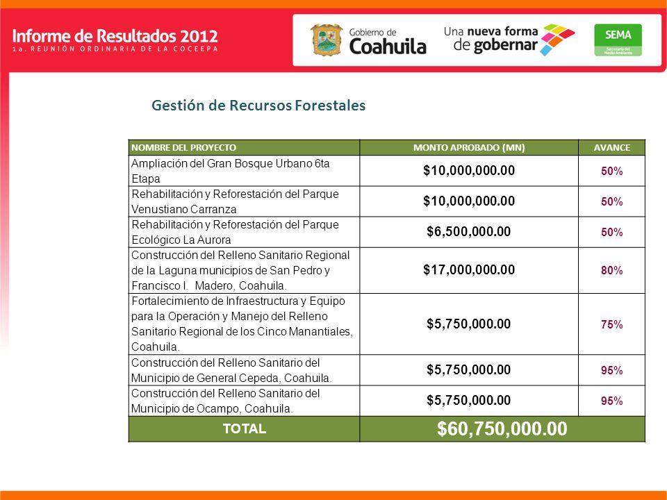 SUBSECRETARÍA DE GESTIÓN AMBIENTAL NOMBRE DEL PROYECTOMONTO APROBADO (MN)AVANCE Ampliación del Gran Bosque Urbano 6ta Etapa $10,000,000.00 50% Rehabilitación y Reforestación del Parque Venustiano Carranza $10,000,000.00 50% Rehabilitación y Reforestación del Parque Ecológico La Aurora $6,500,000.00 50% Construcción del Relleno Sanitario Regional de la Laguna municipios de San Pedro y Francisco I.