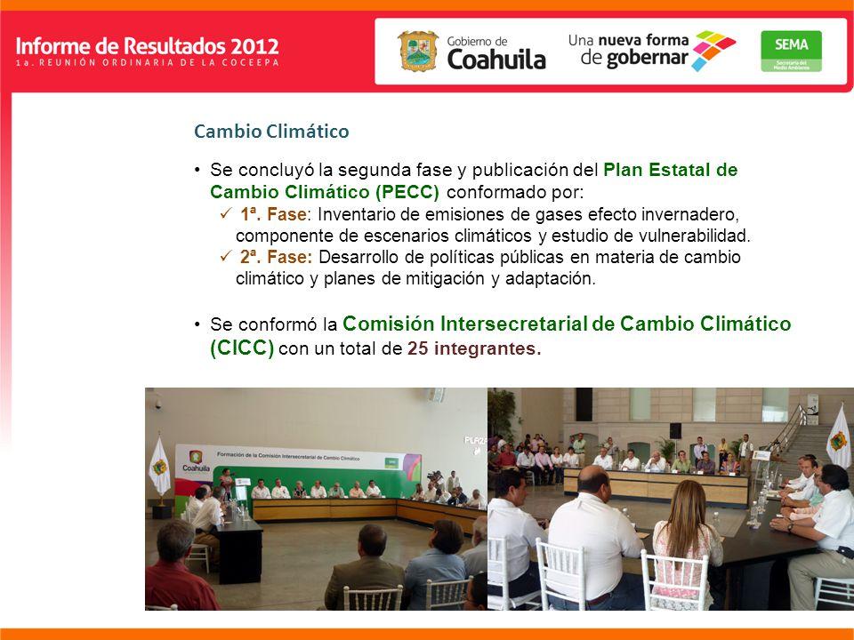 Cambio Climático Se concluyó la segunda fase y publicación del Plan Estatal de Cambio Climático (PECC) conformado por: 1ª.