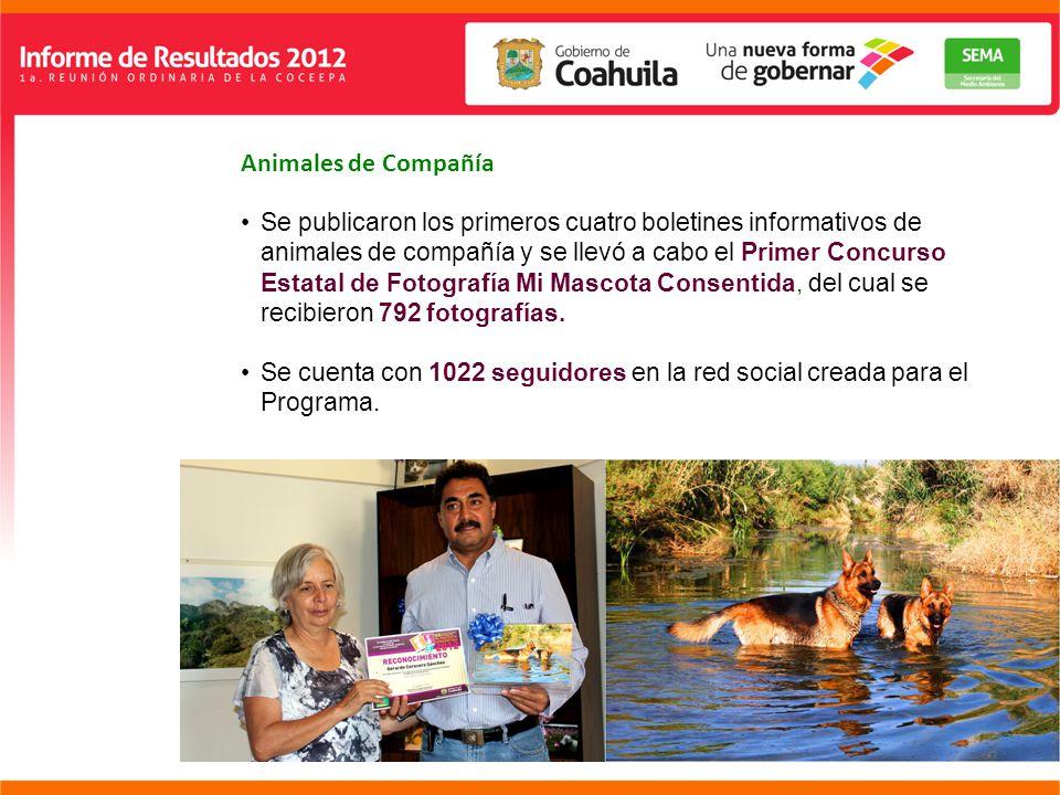 Animales de Compañía Se publicaron los primeros cuatro boletines informativos de animales de compañía y se llevó a cabo el Primer Concurso Estatal de Fotografía Mi Mascota Consentida, del cual se recibieron 792 fotografías.