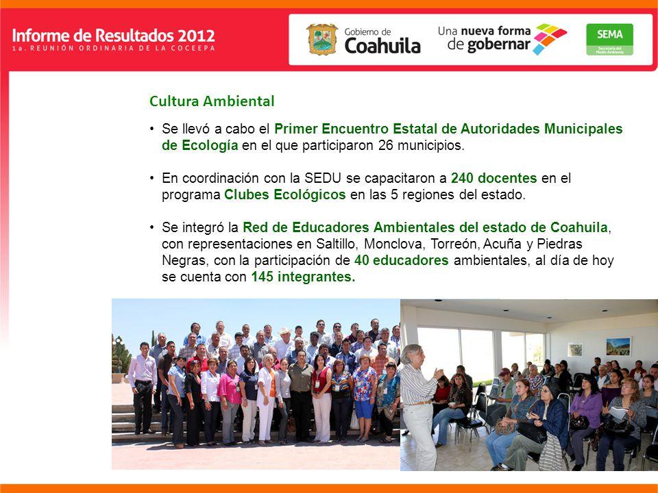 Cultura Ambiental Se llevó a cabo el Primer Encuentro Estatal de Autoridades Municipales de Ecología en el que participaron 26 municipios.